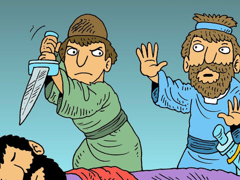 When Abishai wanted to kill King Saul, David said, 'No! Don't hurt him! Saul was chosen by God to be King and we must respect him.' – Slide 5