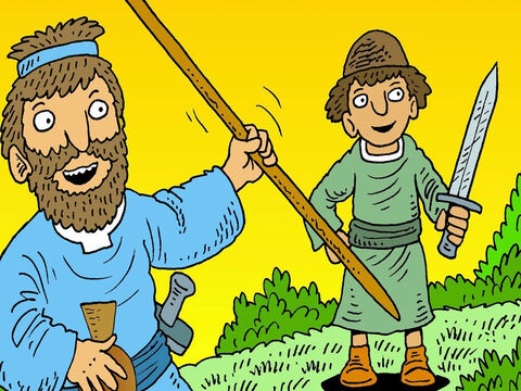 'We will take the King's spear and water jar so he will know that we have been here. We just want to make peace.' – Slide 6