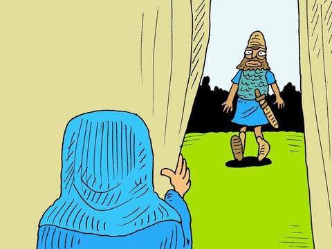 A woman called Jael was alone in her tent nearby. She saw Sisera coming and prayed for help. Then she invited Sisera inside her tent to hide. He was tired and thirsty. – Slide 6