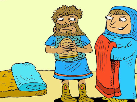 'I will make a bed for you to rest,' Jael said. Sisera didn't know that Jael was tricking him. After drinking a glass of milk, he lay down and went to sleep. – Slide 7