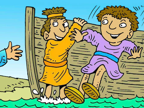 James and John were on the sea of Galilee in their boat, fishing with their father Zebedee, when Jesus called them to follow Him. Straight away, they chose to go. – Slide 3