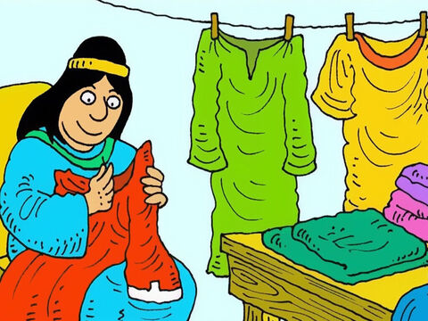 In the seaside town of Joppa, Dorcas was always busy sewing coats to give to poor widows and their children. – Slide 1