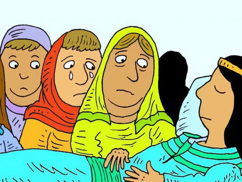 When Dorcas got sick and died, her friends remembered how much she had helped others and had believed in God's son Jesus. – Slide 3