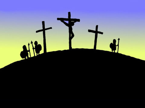 Jesus was put on the cross on the top of a hill. Soldiers stood guard. His friends were sad. – Slide 5