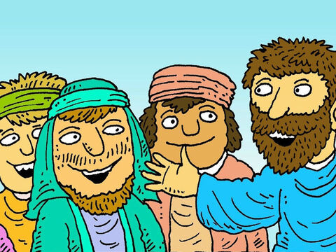 Then His friends saw Jesus! 'See I am alive again, just as I told you,' Jesus said. 'Go and tell your friends the good news.' – Slide 8
