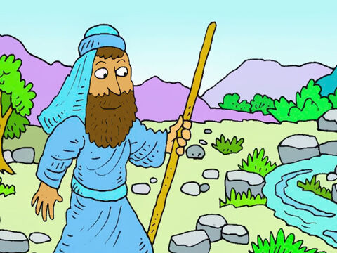 Soon everyone was thirsty. But God looked after Elijah. He sent him far away, to live by a stony stream. – Slide 2