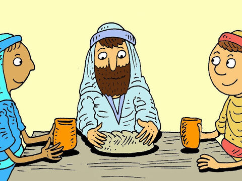 When they got to their house they invited the stranger in for a meal. He took the bread, broke it and thanked God that Jesus had died for them. – Slide 6