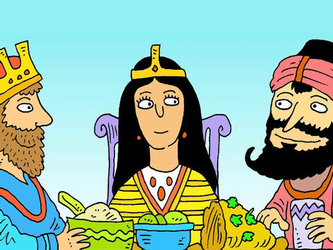 At the special meal, Queen Esther told her husband the king, about Haman's plan. The king was very angry. – Slide 6