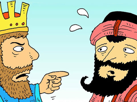 'If you kill the Jews,' said the king, 'then you will have killed my wife!' Haman was scared. – Slide 7