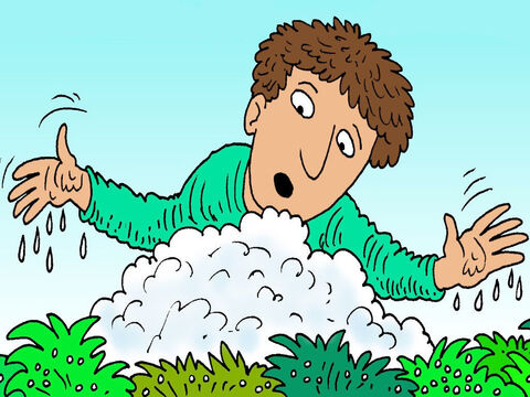 Sure enough, the next morning, the ground was wet but the fleece was fluffy and dry. – Slide 7