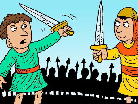 Gideon was now sure God wanted him to lead an army, so he got a sword and gathered soldiers. – Slide 8