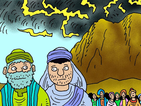 Aaron and Joshua were left in charge of the people of Israel, while Moses went up Mount Sinai to talk to God. – Slide 2