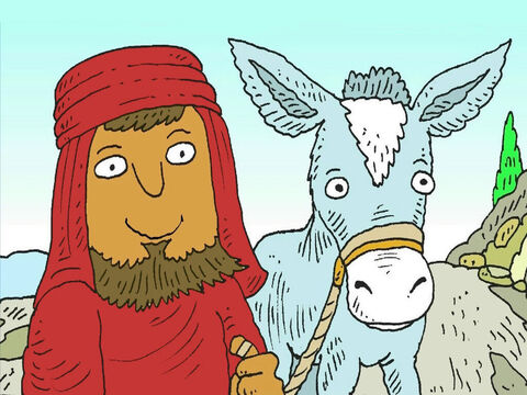 A stranger from the country of Samaria came along the road with his little donkey. He saw the hurt man by the side of the road. The man from Samaria was very kind. – Slide 6
