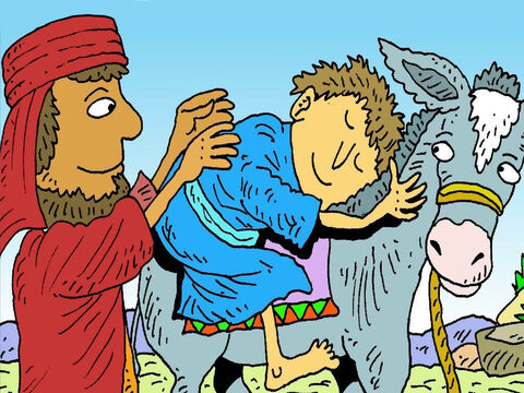 'I will help you, my friend,' said the kind man from Samaria. He gave the man a drink of water, helped him and put him on his donkey's back. – Slide 7