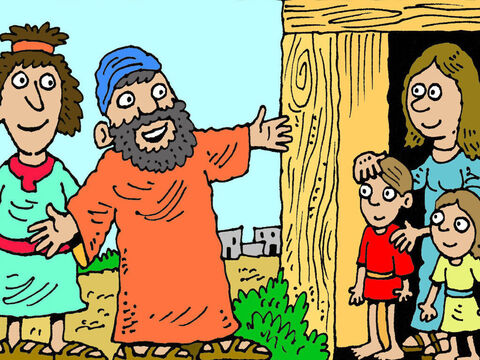 So, off they went, two at a time, into the towns, just as Jesus had told them to do. When they found a family who loved God, they asked if they could stay with them for a while. – Slide 6