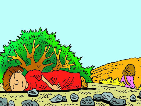 Soon their water was gone and it was so hot that Ishmael was dying of thirst. Hagar didn't want to see him die. She lay him under a bush, sat down a little way off and cried. – Slide 5