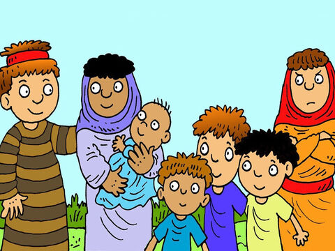 Jacob had two wives, sisters Leah and Rachel. Rachel was his favourite, but she had no children. Leah and Jacob had four boys, Reuben, Simeon, Levi and Judah. – Slide 2