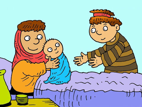 Rachel was sick when her last son was born. She handed the baby to Jacob and died. Jacob called him Benjamin. Altogether Jacob had twelve sons and one daughter. – Slide 8