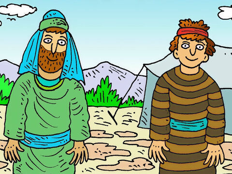 Isaac and Rebekah had twin boys. Esau had been born first and as he grew up was very hairy, but Jacob wasn't hairy like his brother. – Slide 2