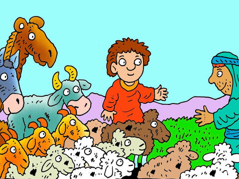 Jacob sent his servants ahead with several herds of animals as presents for Esau - camels, goats, sheep, cows and donkeys, all with their babies. – Slide 6
