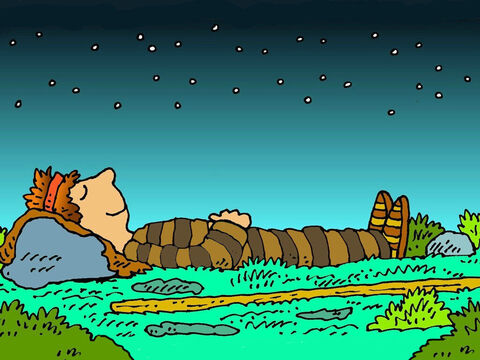 He made himself a pillow from the smooth stones that he found nearby and lay down on the ground to sleep. That night Jacob had a special dream. – Slide 3
