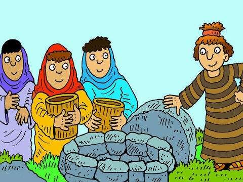 When he got to the country his mother was from he lifted a heavy stone lid from a well and helped some shepherds give their sheep a drink. They told him that Rachel and Leah were his cousins. – Slide 6