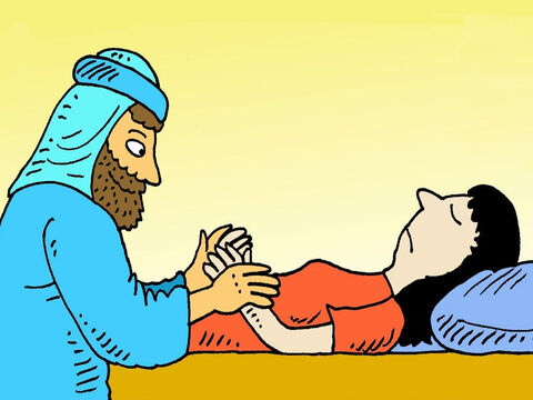 Jesus went into the room where the little girl lay dead. He took her by the hand and said, 'Little girl, I say to you, get up.' – Slide 6