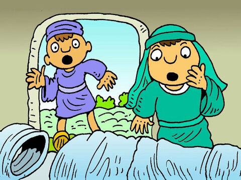 Peter and John had to see for themselves. They both ran to the tomb. They saw the empty clothes, but it was true - Jesus was gone! They went back, puzzled over what had happened. – Slide 3