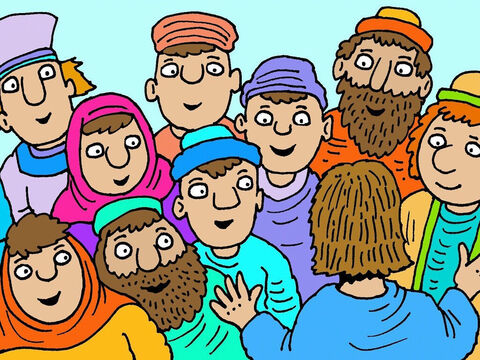 That evening some of Jesus' friends were in a room with the door closed. Suddenly Jesus appeared amongst them. They were glad and believed when they saw Jesus alive! – Slide 5