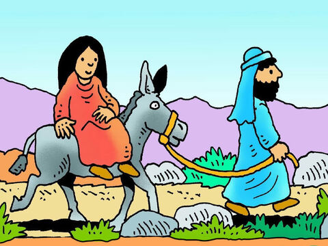 It took about three days to get to Bethlehem and Mary rode on the back of the donkey. It was a bumpy ride and Mary would have been very tired and very uncomfortable. – Slide 5