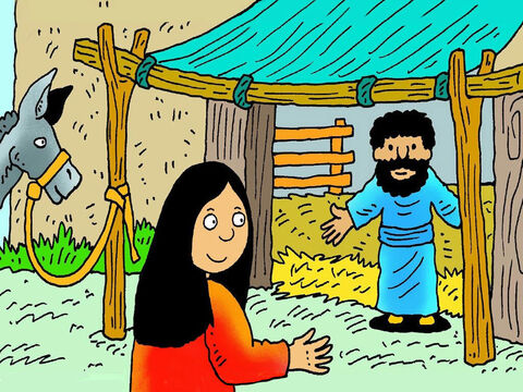 So many people had come to put their name on the list at Bethlehem that there was nowhere for Mary and Joseph to stay, except a smelly stable that animals slept in. – Slide 6