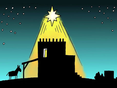 That night baby Jesus, the promised Saviour, was born in a stable in Bethlehem. A very bright star appeared in the sky right above the place where He was born. – Slide 7