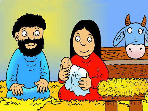 Joseph and Mary called the baby Jesus, just like the angel Gabriel had told them. They wrapped Him in a soft linen cloth and made Him a bed in a manger box of hay. – Slide 8