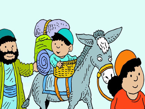 Joseph and Mary took good care of Jesus. He liked doing all the things children do. In those days people rode on donkeys to get around. – Slide 2