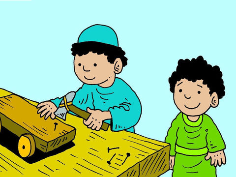 Joseph was a carpenter and when Jesus was a boy He learnt to make things from wood too. Jesus liked to help His friends. – Slide 5