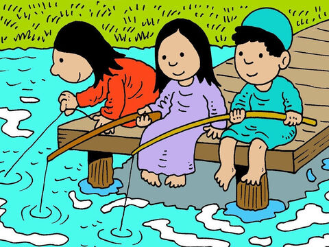 Jesus played with His friends and probably did things like going fishing with them. He loved to tell everyone how much their heavenly Father loved them. – Slide 6