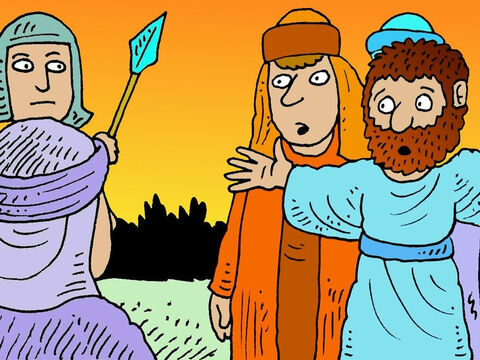 Judas betrayed Jesus and the guards arrested Him and took Him away to be questioned by the high priest. Jesus' friends were so scared they ran off. – Slide 8