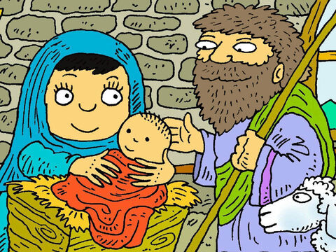 People watched and waited and when it was the right time Jesus was born in Bethlehem. – Slide 3