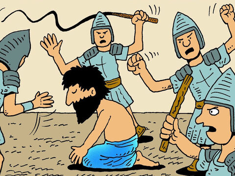 Judas Iscariot showed the High Priest's soldiers where to find Jesus. They arrested Him, bullied and mocked Him and treated Him badly. – Slide 2