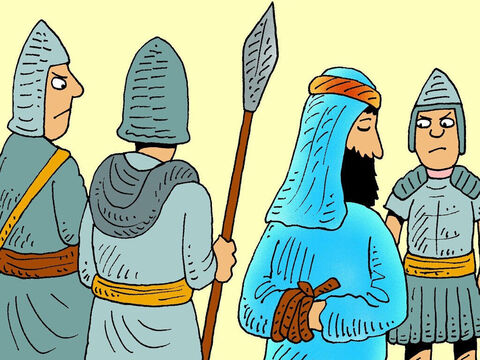 Annas sent Jesus to the palace of Caiaphas, the High Priest who was in charge, to see if he could find something Jesus had done wrong, so they could get rid of Him. – Slide 4