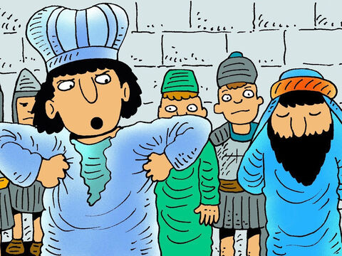 Caiaphas was very angry that he couldn't find any two people to agree how to blame Jesus. He sent Jesus to the Roman Governor's palace to be judged by Pontius Pilate. – Slide 8
