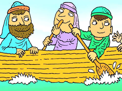 One lovely evening Jesus and some of His friends got into a boat to row across the lake. – Slide 2