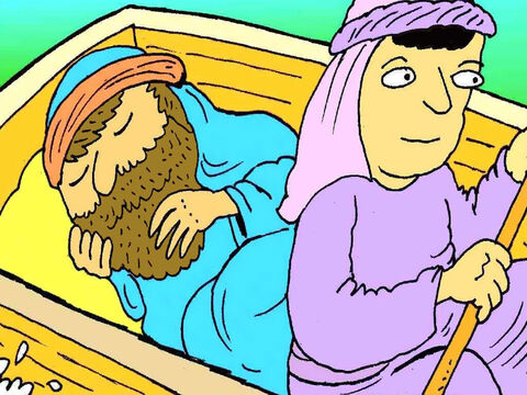 Jesus had been busy all day, teaching people about God and He was very tired. He lay down and went to sleep. – Slide 3