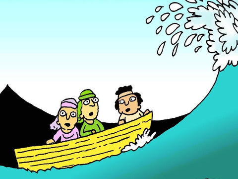 The wind began to blow and the waves got bigger and bigger. The little boat bobbed up and down. Jesus' friends got scared. – Slide 4