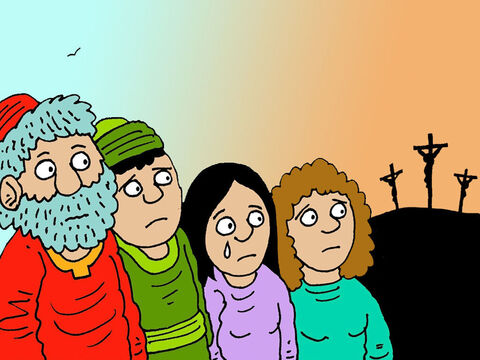 He believed that Jesus was the promised Saviour. From a distance Joseph and his friends watched sadly, as Jesus died on the cross. Joseph had an idea how he could show his love for Jesus! Jesus could be buried in his new family tomb! – Slide 3