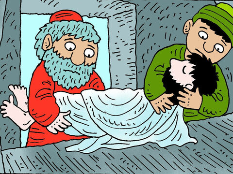 Joseph and Nicodemus took the body of Jesus and gently wrapped it in linen cloths with the fragrant myrrh and aloe spices that Nicodemus had brought, as that was the burial custom of the Jews. – Slide 5
