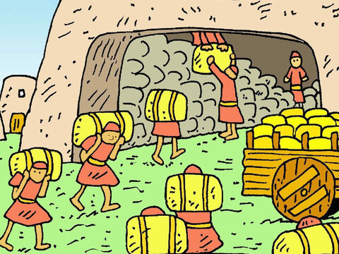God told Joseph, 'Tell King Pharaoh to store lots and lots of corn because soon people in other countries won't have enough to feed their families.' – Slide 5