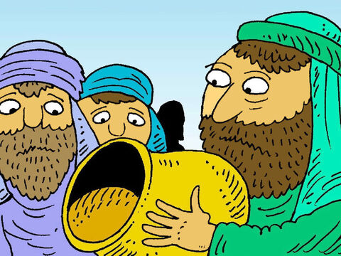 Soon Joseph's brothers had no corn left to eat. They were hungry, so their dad sent them to buy corn from King Pharaoh. Would Joseph be kind to his brothers? <br/>His brothers did not know he was still alive or that he was now in charge of the food in Egypt. – Slide 6
