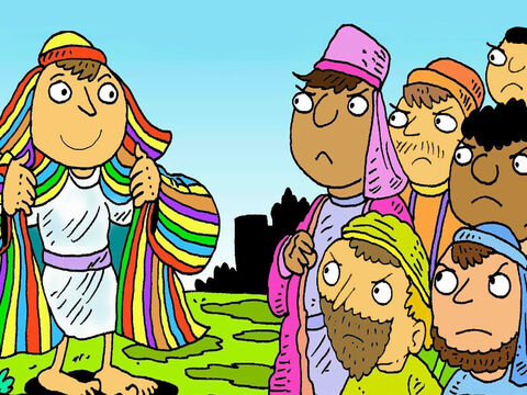 His father loved Joseph very much. He gave him a special present. It was a new coat with lots of colours. He showed his new coat to his brothers. – Slide 3
