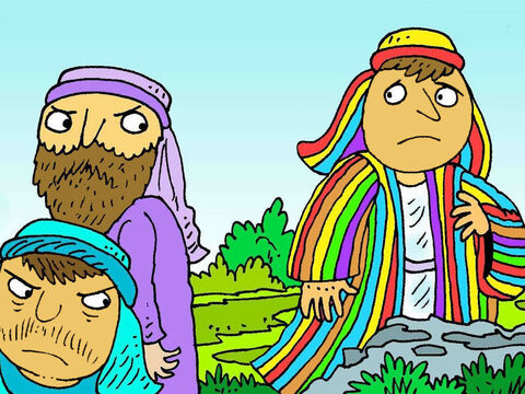 Joseph's brothers were grumpy and jealous. They wanted the colourful new coat. They told Joseph to go away and were unkind to him. – Slide 4